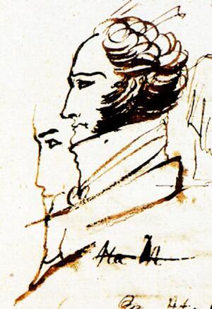 Пушкинисты считают, что это портрет Ф.Ф. Вигеля. Рукопись  «Евгения Онегина» 1823 г. Одесса