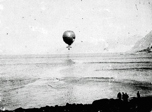 Воздушный шар Андрэ удаляется от острова Дэйнс 11июля 1897г.