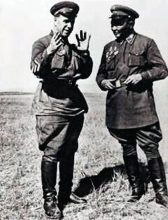 Монгольский маршал Х. Чойбалсан и комкор Г. Жуков на Халхин-Голе