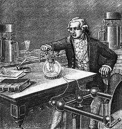 Антуан Лавуазье (1743-1794) изображен во время проведения эксперимента по определению состава воды путем поджигания смеси водорода и кислорода электрической искрой (гравюра XIX в.).