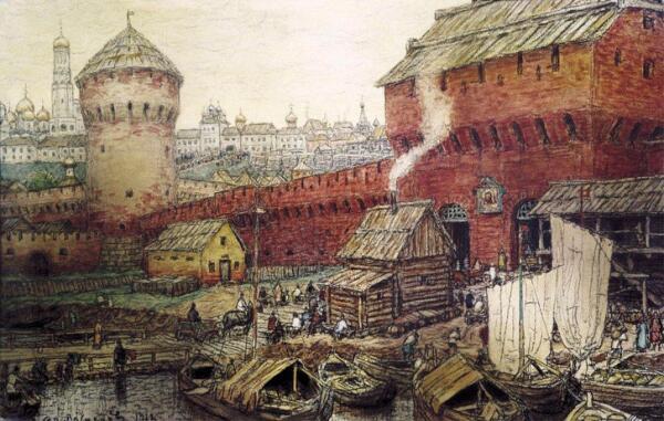 Спасские Водяные ворота Китай-города в XVII веке