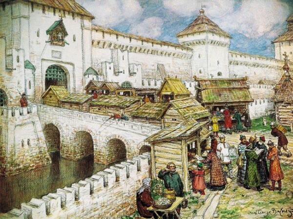 Книжные лавочки на Спасском мосту в XVII веке