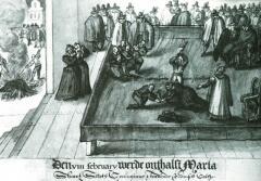 Казнь Марии Стюарт. Рисунок XVI в.