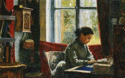 А.А. Киселев. Е.Г. Мамонтова в своем кабинете в Абрамцево