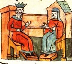 Княгиня Ольга у византийского императора. Древнерусская миниатюра