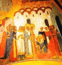 Крещение княгини Ольги. Фреска в Грановитой палате Московского Кремля
