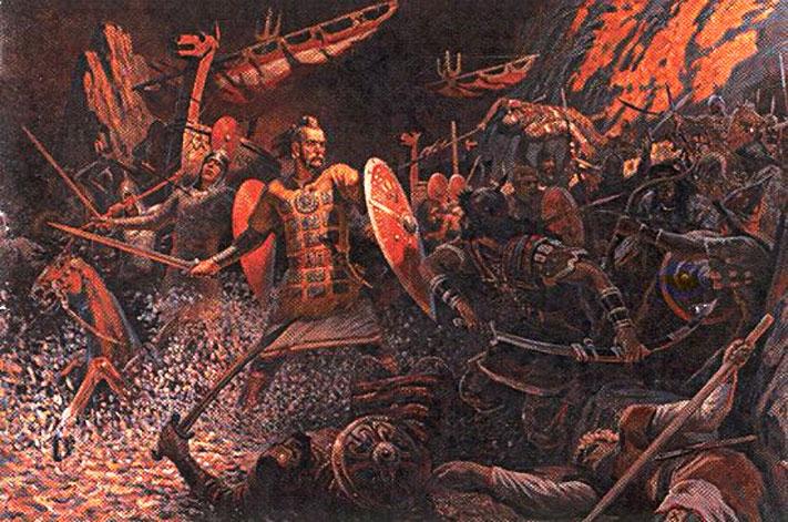 Воины эпохи Древней Руси X - XI веков на рисунках