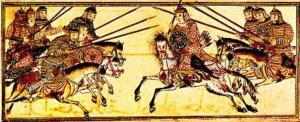 Монгольская кавалерия в бою. Персидская миниатюра