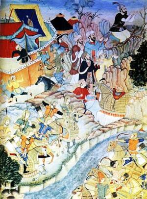 Чингисхан молится во время битвы. Персидская миниатюра