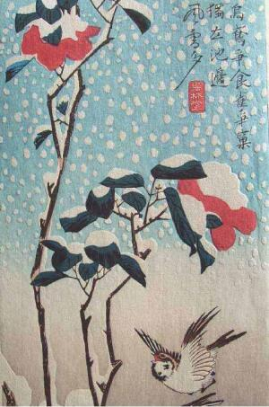Hiroshige Sparrows and Camellia in Snow
