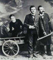 Лу Саломе в повозке, запряженной Паулем Рэ и Фридрихом Ницше (1882)