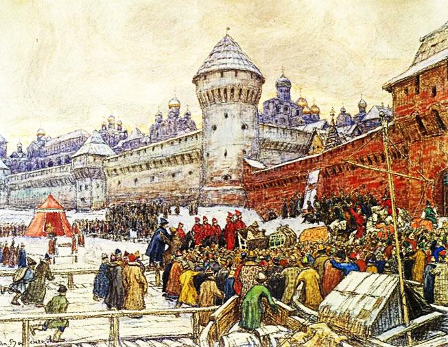 Б.М. Кустодиев — Кулачный бой на Москве-реке