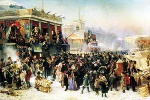 К.Е. Маковский. Народное гулянье во время масленицы на Адмиралтейской площади в Петербурге