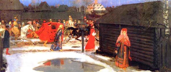 А.П. Рябушкин. Свадебный поезд в Москве XVII века