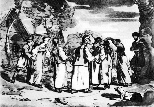 Д.А. Аткинсон. Хоровод в русской деревне. 1803 г.