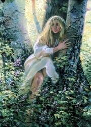 Так в представлениях славян могли выглядеть мавки: в виде детей или дев с длинными волосами, в белых сорочках. Художница Ольга Нагорная