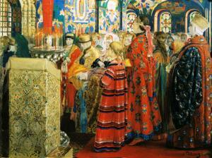 А. Рябушкин. Русские женщины XVII столетия в церкви