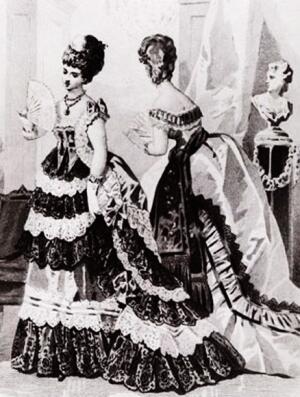 Бальные платья. Картинка из французского журнала 1872 г.