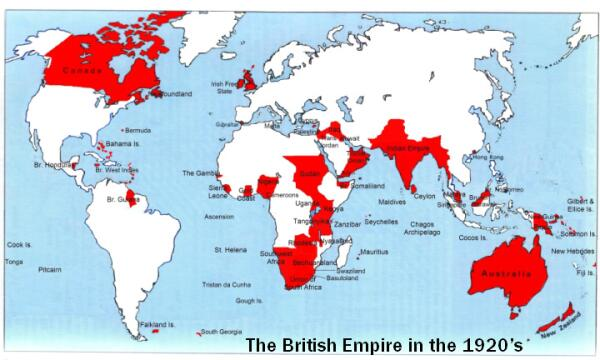 Карта Британской Империи в период её расцвета