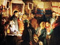 В.М. Максимов. Приход колдуна на крестьянскую свадьбу (фрагмент картины)