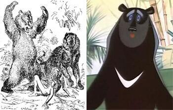 Балу на картинке В. Ватагина изображен бурым медведем, а в советском мультфильме - гималайским.