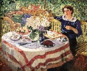 А.М. Герасимов. В саду. Портрет Нины Гиляровской