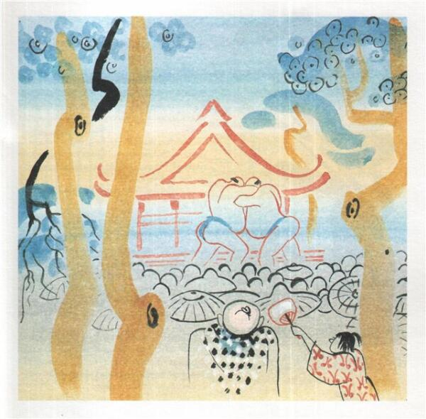 Борьба сумо во дворе деревенского храма. Иллюстрация М.Митурича к японской сказке