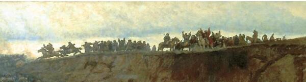 Всадники на обрыве. Фрагмент картины