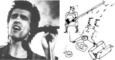 От трагедии к фарсу... (справа - рисунок В. Бутусова со словами