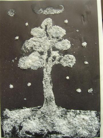 Зимний пейзаж бумага клей и соль