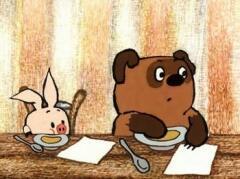 """""""…когда Кролик спросил """"Тебе чего намазать - меду или сгущенного молока?"""", Пух пришел в такой восторг, что выпалил: """"И того и другого!"""". Правда, спохватившись, он, чтобы не показаться очень жадным, поскорее добавил: """"А хлеба можно вообще не давать!"""""""