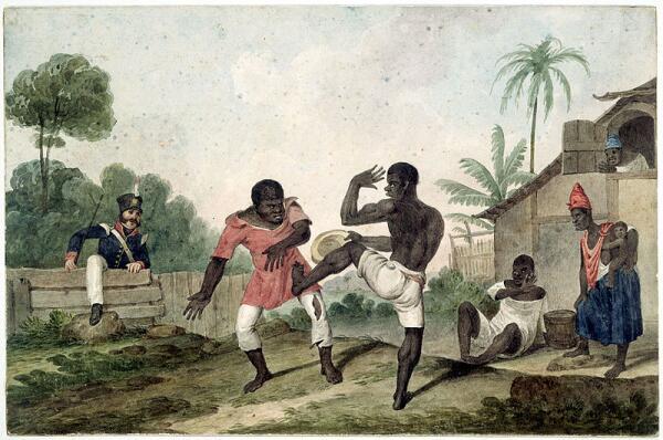 Танец-борьба Нголо (акварель, Национальная Библиотека Австралии, en.wikipedia.org)