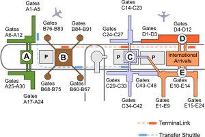 Схема парковок аэропорта Хьюстона.