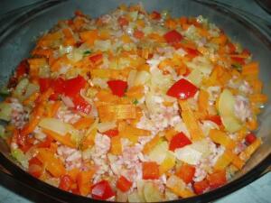 Третий слой. Тушеные овощи