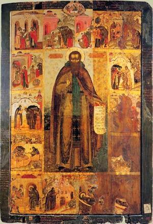 Преподобный Феодосий Печерский с житием (икона XVII век)