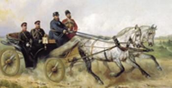 Картина «Царь Александр III в открытом ландо» 1888г. (Художник— Н. Сверчков)