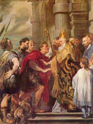 Св. Амвросий Медиоланский запрещает императору Феодосию войти в церковь. Ван Дейк. Национальная галерея, Лондон