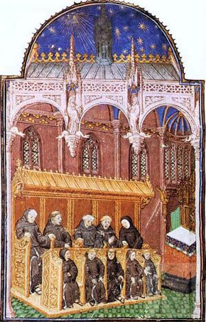 Монахи, поющие во время богослужения. Миниатюра, около 1430 г.