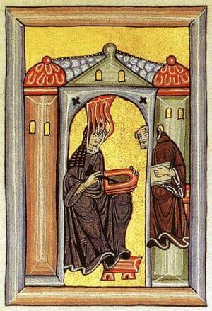 Хильдегарда Бингенская обретает божественное вдохновение и диктует своему писцу (Миниатюра из рукописи, Монастырь Рупертсберг)