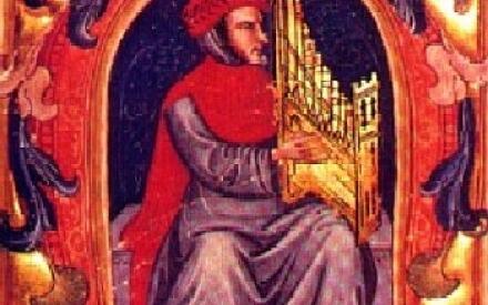 Франческо Ландини играет на миниатюрном органе (Кодекс Скварчалупи, XV в.)