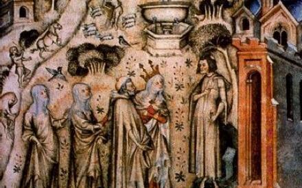 Гильом де Машо (крайний справа), принимающий милости от Природы (миниатюра XIV века)