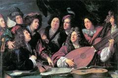 Портрет музыкантов и художников (Люлли на первом плане) (François Puget (1651–1707), Лувр)