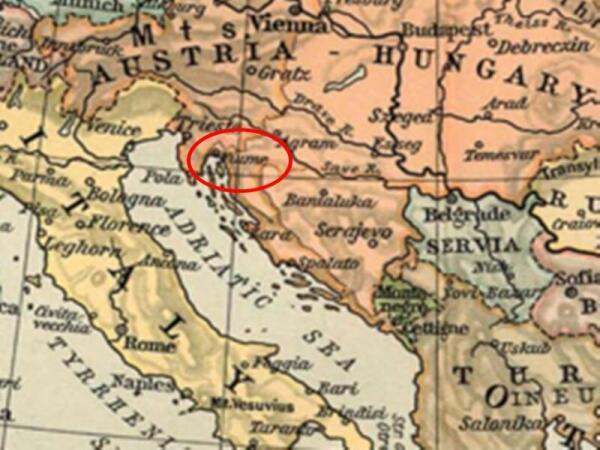 Город-«революционер» Фиуме (Риекка) на карте
