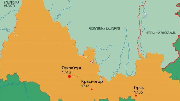 Перемещение места закладки Оренбурга