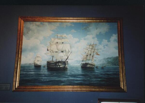 Русский фрегат (слева) в бою берет в плен испанский фрегат «Эсмеральда»
